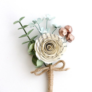 custom groom's boutonniere for spring wedding | book themed wedding | handmade by Anthology On Main