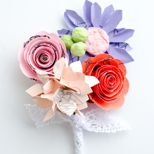 book themed boutonniere | spring pastel wedding | handmade by Anthology On Main