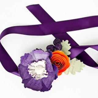 book themed mother of the bride wrist corsage | handmade by Anthology On Main