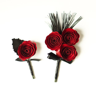 Great Gatsby inspired book page boutonniere and matching corsage | red and black wedding colors | handmade by Anthology On Main
