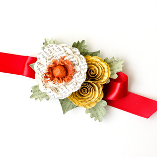fall wedding wrist corsage | book themed wedding | handmade by Anthology On Main