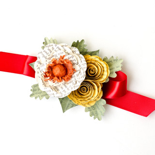 fall wedding wrist corsage | book themed wedding | handmade by Anthology On Main