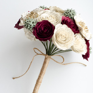 burgundy and ivory book bouquet | handmade by Anthology On Main