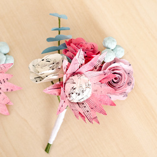 tropical boutonnieres with king protea | made from book pages | handmade by Anthology On Main
