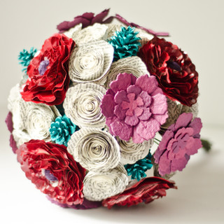 book page bridal bouquet with succulents, peonies, roses and pine cones   handmade by Anthology On Main