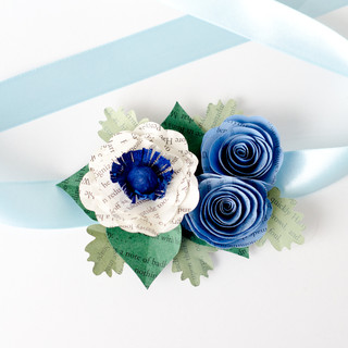 blue wedding corsage | book page flowers | handmade by Anthology On Main