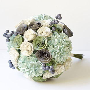 book bouquet in mint, ivory and gray with hydrangeas, roses and berries | handmade by Anthology On Main