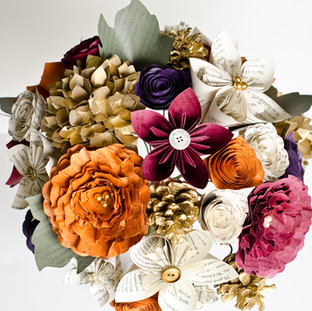 Fall wedding bouquet made from the pages of Harry Potter | handmade by Anthology On Main