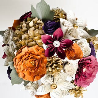 Fall wedding bouquet made from the pages of Harry Potter   handmade by Anthology On Main