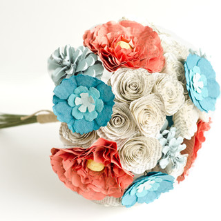 beach themed bouquet made from Les Miserables book pages | handmade by Anthology On Main