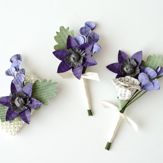 purple wedding colors | literary wedding | groom's boutonniere, groomsmen boutonniere, and mother of the bride wrist corsage | handmade by Anthology On Main