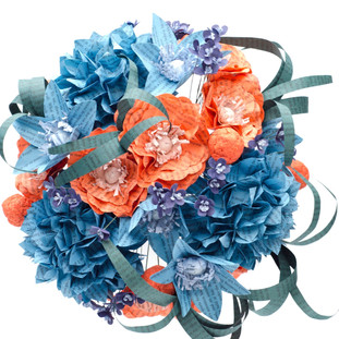 orange and teal bridal bouquet made from books | handmade by Anthology On Main