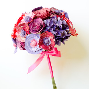 colorful pink and purple bridal bouquet made from books | handmade by Anthology On Main