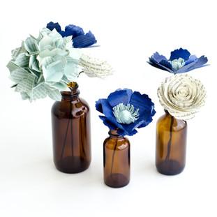 rustic wedding centerpiece | hydrangea, anemones, roses | custom book themed wedding flowers by Anthology On Main