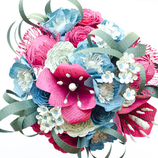 book themed wedding bouquet | pink and teal color scheme | handmade by Anthology On Main