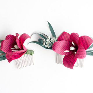 lily hair combs made from book pages | custom book themed wedding flowers handmade by Anthology On Main