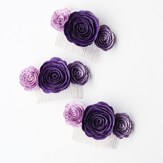 purple rose hair combs made from book pages | custom book themed wedding flowers handmade by Anthology On Main
