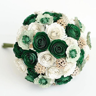 green and gold Slytherin themed bouquet made from the pages of Harry Potter | handmade by Anthology On Main