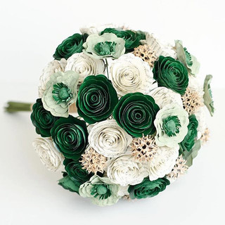 green and gold Slytherin themed bouquet made from the pages of Harry Potter   handmade by Anthology On Main