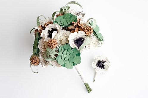 Woodland Harry Potter Bridal Bouquet with Matching Groom's Boutonniere