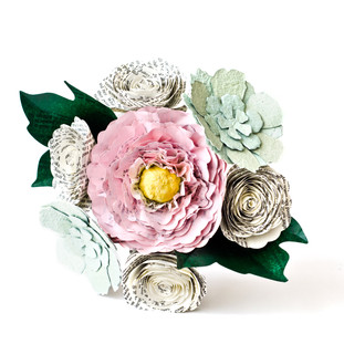 peony bridesmaid bouquet in pink, mint, ivory and hunter green | Pride and Prejudice book themed wedding | handmade by Anthology On Main