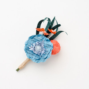 book page boutonniere | orange and teal wedding colors | handmade by Anthology On Main