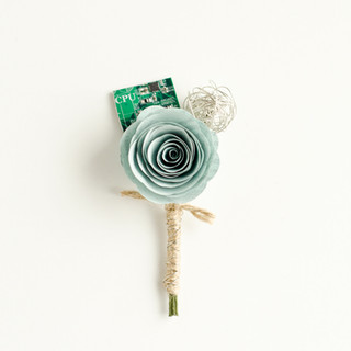 computer book and motherboard boutonniere in mint | handmade by Anthology On Main