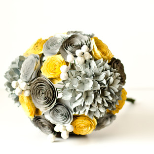 gray and yellow book bouquet with hydrangeas, roses and berries | handmade by Anthology On Main