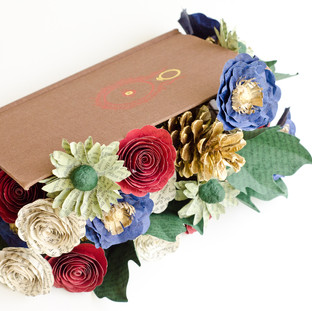 book flowers centerpiece | Lord of the Rings wedding theme | custom book themed wedding flowers by Anthology On Main