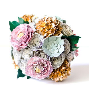 custom bridal bouquet with peonies, succulents, hydrangeas, maple leaves, and roses; made from the pages of Jane Austen novels | handmade by Anthology On Main