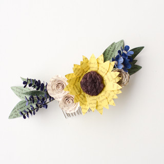 wildflower bridal hair comb made from book pages | custom book themed wedding flowers handmade by Anthology On Main
