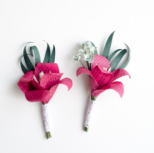 lily boutonnieres made from book pages | handmade by Anthology On Main