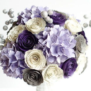 purple and gray wedding bouquet | book themed wedding | handmade by Anthology On Main