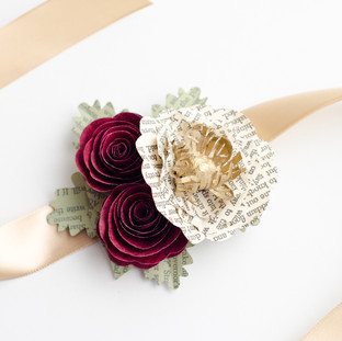 book themed wrist corsage | handmade by Anthology On Main
