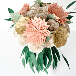 book themed wedding | tropical bridal bouquet with dahlias and eucalyptus | handmade by Anthology On Main