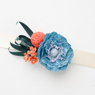 orange and teal wedding colors | book page corsage | handmade by Anthology On Main