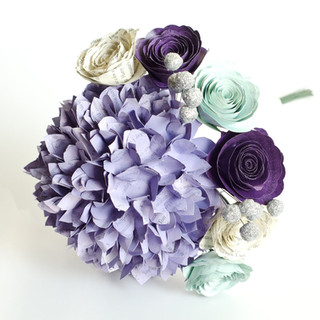 small bridesmaid bouquet with large hydrangea, roses and berries | handmade by Anthology On Main
