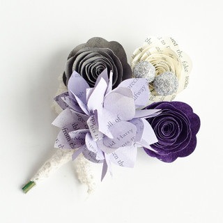 hydrangea groom's boutonniere in purple and gray | literary wedding | handmade by Anthology On Main
