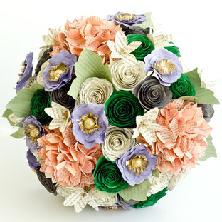 spring wedding bouquet made from books: Star Trek, X-Files, Wicked, Harry Potter, Pride and Prejudice, and Green Rider | handmade by Anthology On Main