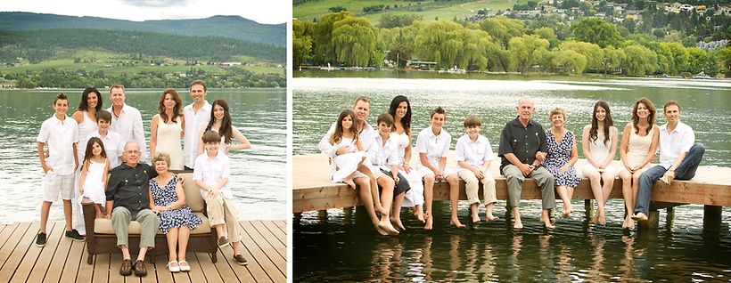 Family posing for family portrait on the dock at Kal beach in Vernon, BC