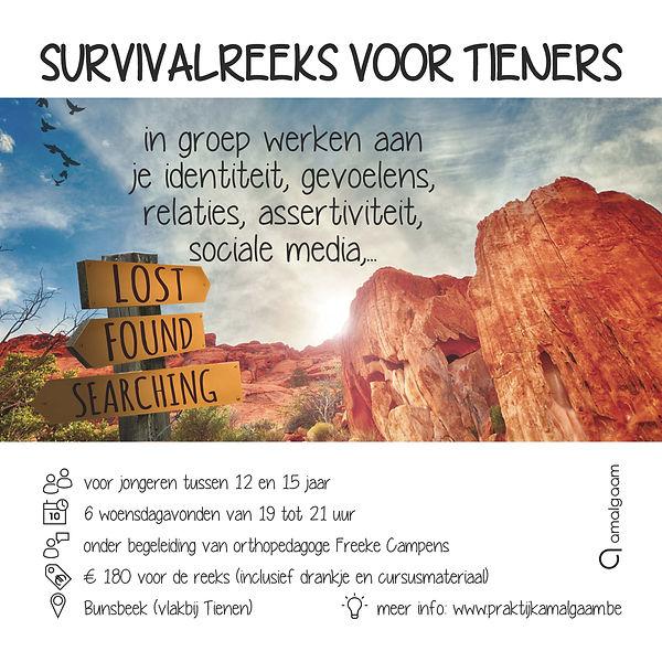 Survivalreeks voor tieners - flyer voor