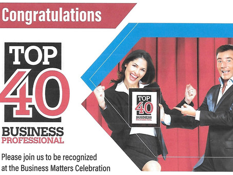 Congratulations to MJ Johnson for making the Top 40 Business Professionals of the year!!