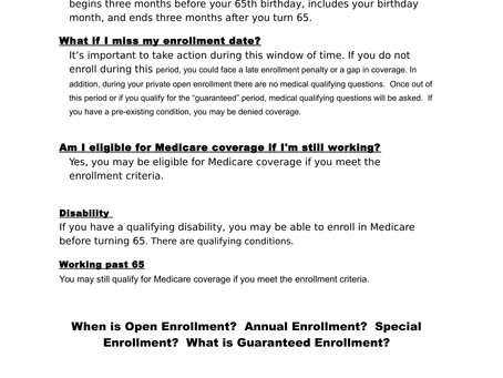 Medicare and Plan Enrollment Dates ....