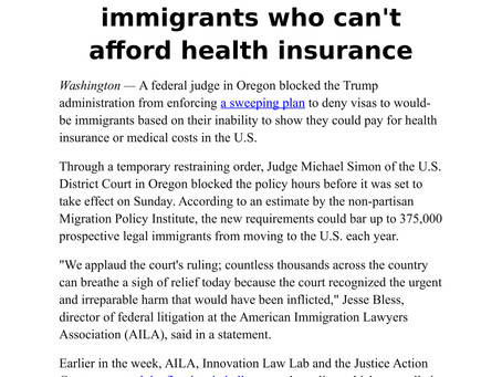 Courts block plan to deny visas to would-be immigrants who can't afford health insurance