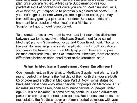Medicare Open Enrollment vs. Guaranteed Issue