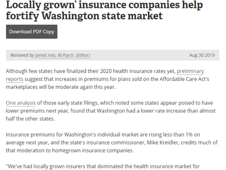 Locally grown' insurance companies help fortify Washington state market