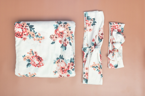 Summer Knit Floral Swaddle and Mommy and Me Headband Set