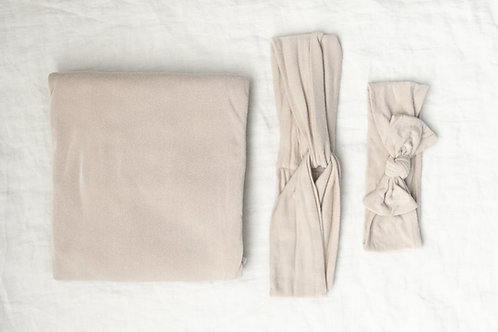 Dust Rose Swaddle and Mommy and MeHeadband Set
