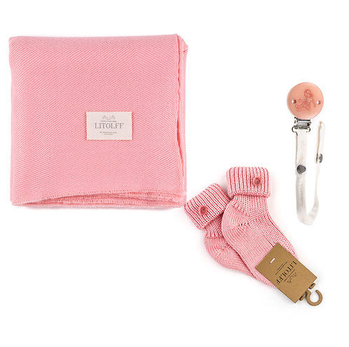 Handwoven BLANKET SET 3 pcs rose