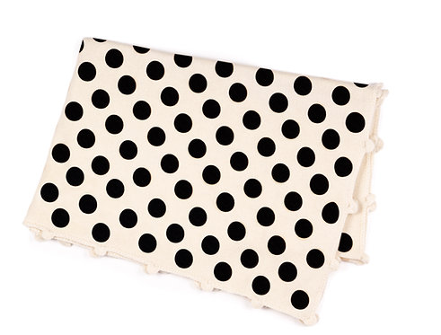 "CASHMERE BLANKET DOTS ""blackdots-hand crochet"""